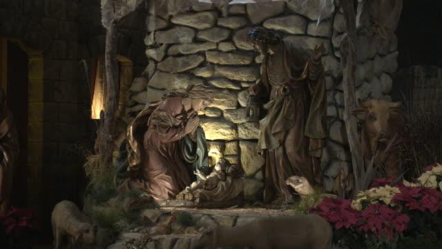 MS, Life size Nativity scene in church, Manhattan Beach, California, USA