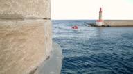 Lifeboat entering a port