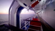 Lifeboats of cruise ship in the morning