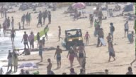 Lifeguards have a busy weekend at Bondi Beach on February 11 2017 in Sydney Australia With temperatures forecast to go as high as 39 degrees over the...