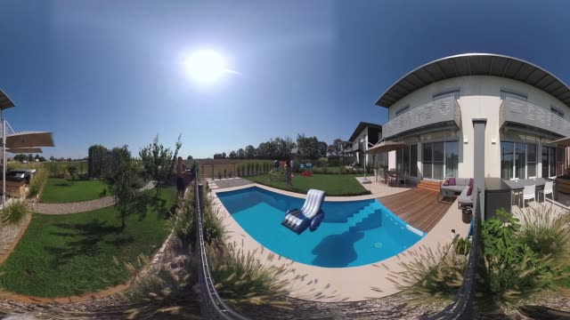 360 VR Lifestyle - video semi detached houses and gardens in summer