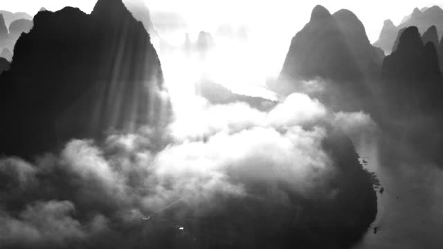 Light and shadow of li river in the morning