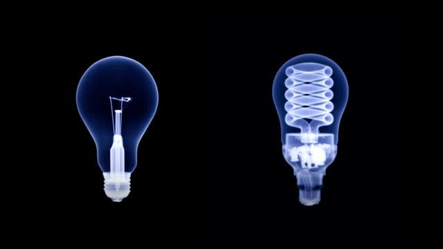 'Light bulb comparison, X-rays'