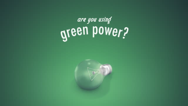 Light Bulb Green Power Text