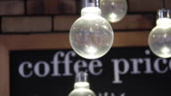 Light bulbs with the word coffee at the background