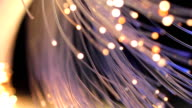 Light data transmission through fibre optic cables.
