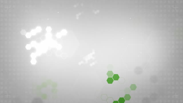 Light Hexagonal Background Loop - Green On Soft Grey (HD)