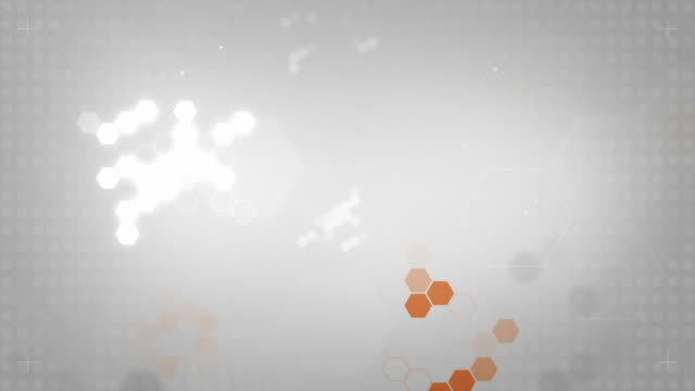Light Hexagonal Background Loop - Orange On Soft Grey (HD)