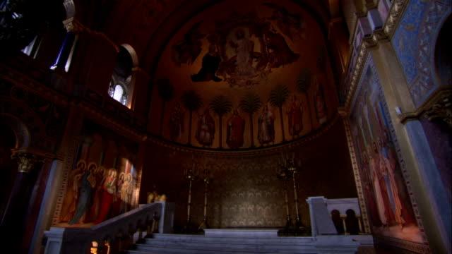 Light illuminates the throne room of Neuschwanstein Castle. Available in HD.