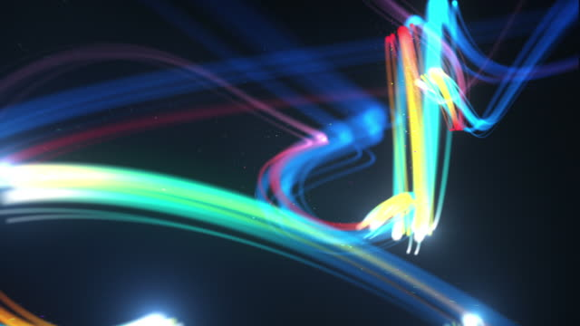 Light Streaks Background Loop - Glowing Rainbow (Full HD)
