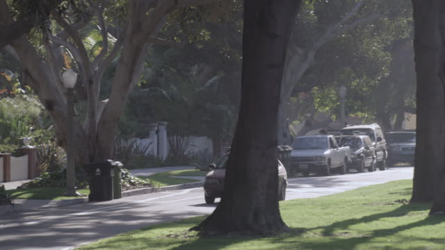 TS Light traffic of cars driving down a tree-lined residential street