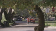 SELECTIVE FOCUS Light traffic of cars driving down tree-lined, residential streets as a pedestrian quickly crosses the road