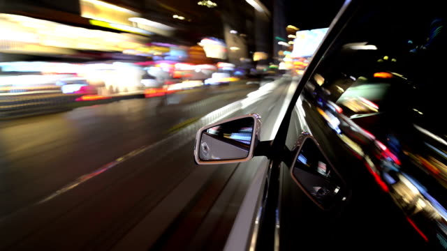Light view from a car in motion high speed