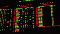 Lighted Odds board w/ College Football game list amp odds postings PAN Board w/ Boxing Basketball Pro Football lists w/ odds Information choices...