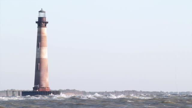Lighthouse at sunrise, close-up