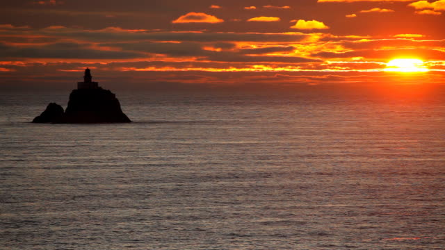 HD lighthouse sunset along Oregon Coast
