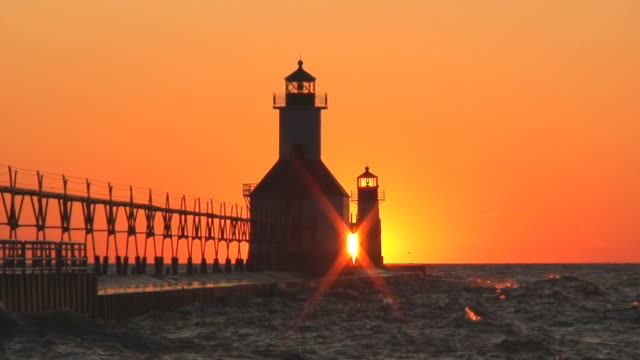 Lighthouse, Sunset and Seagulls