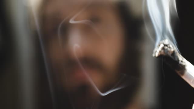 Lighting a Cigarette - closeup - slow motion - 4k
