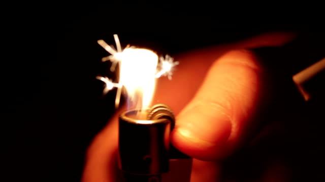 Lighting Up Cigarette In The Dark