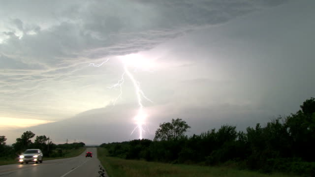Lightning Bolt Shooting Out Of A Supercell Thunderstorm