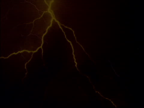 Lightning flashing in night sky