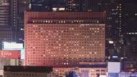 WS T/L Lights are turned on and off in Shinjuku Prince hotel / Tokyo, Japan