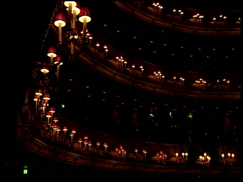 Lights around stalls fade out as performance begins