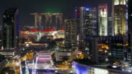 Lights flash from the Marina Bay Sands Hotel in Singapore.