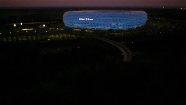 Lights illuminate the Allianz Arena.