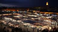 Lights illuminate the market stalls at the Jamaa el-Fna.