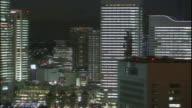 Lights shine from the Minato Mirai 21 Ferris wheel in Yokohama, Japan.