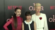 Lily Collins Ahn Seohyun and Tilda Swinton at 'Okja' New York Premiere on June 08 2017 in New York City