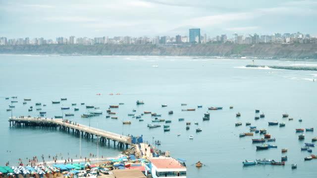 Lima Peru Chorrillos bay cosatline cityscape