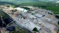 Lime Mill Factory Aerial Drone over Austin / Round Rock , Texas Surface Mining Erosion Polluition Production