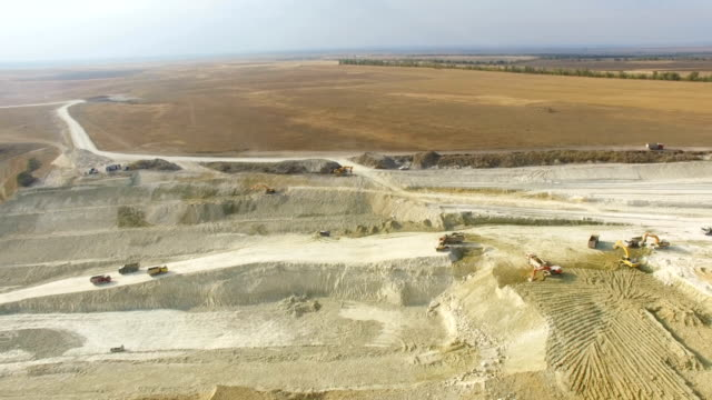 AERIAL: Limestone quarry near road construction