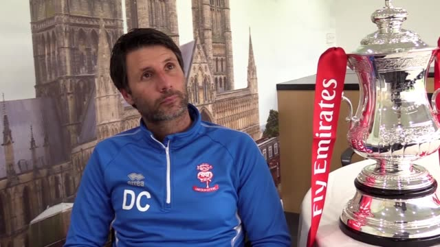 Lincoln manager Danny Cowley speaks ahead of the team's FA Cup first round match at Wimbledon