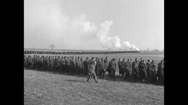 Line of German prisoners stretches far into the distance