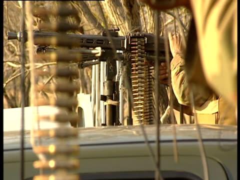 A line of machine guns ready to fire