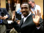 Linford Christie to defend Olympic title ENGLAND London Knightsbridge Wilton Place Berkeley Hotel Linford Christie posing for press cameras BV Media...
