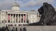 Lion and National Gallery, Trafalgar Square, Westminster, London, England, UK