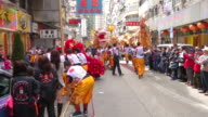 MS ZO Lion dance performance on street on Chinese New Year AUDIO / Hong Kong, Special Administrative Region, China