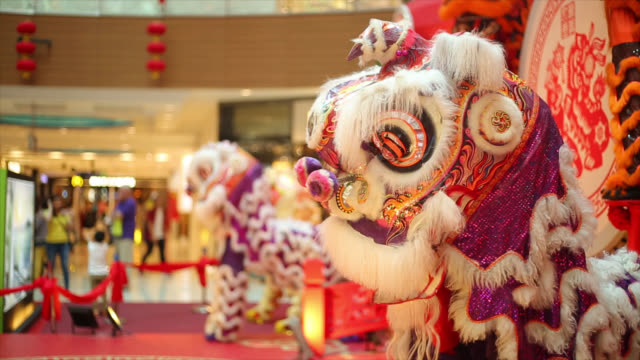 Lion Dancing in the public place