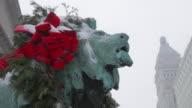 CU Lion statue in winter weather