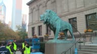 WGN Lion Statues in Front of Chicago Art Institute on Oct 24 2016