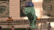 WGN Lion Statues in Front of Chicago Art Institute With Cubs Helmets after the Cubs won the National League Pennant on Oct 24 2016