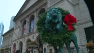 WGN Lion Statues Outside Chicago Art Institute Decorated With Holiday Wreaths in Chicago on November 27 2015