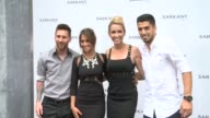 Lionel Messi Antonella Roccuzzo Sofia Balbi and Luis Suarez attend the opening of Sarkany Shoes Boutique