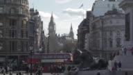 Lions, Big Ben Clocktower and Red Buses, Trafalgar Square, Westminster, London, England, UK
