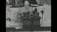 [Lip flap throughout] MS Dwight Eisenhower Supreme Commander of Allied Expeditionary Forces standing on Speaker's rostrum in House chamber speaking...
