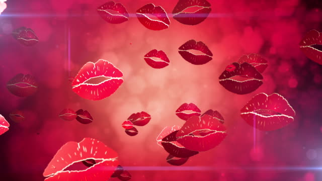 Lipstick kisses popping up - Loop